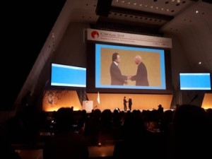 ICOM, Kyoto 2019. Sebastião Salgado is welcomed to his keynote presentation.